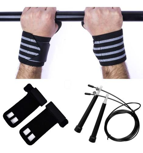 kit corda speed + munhequeira +luva hand grip couro