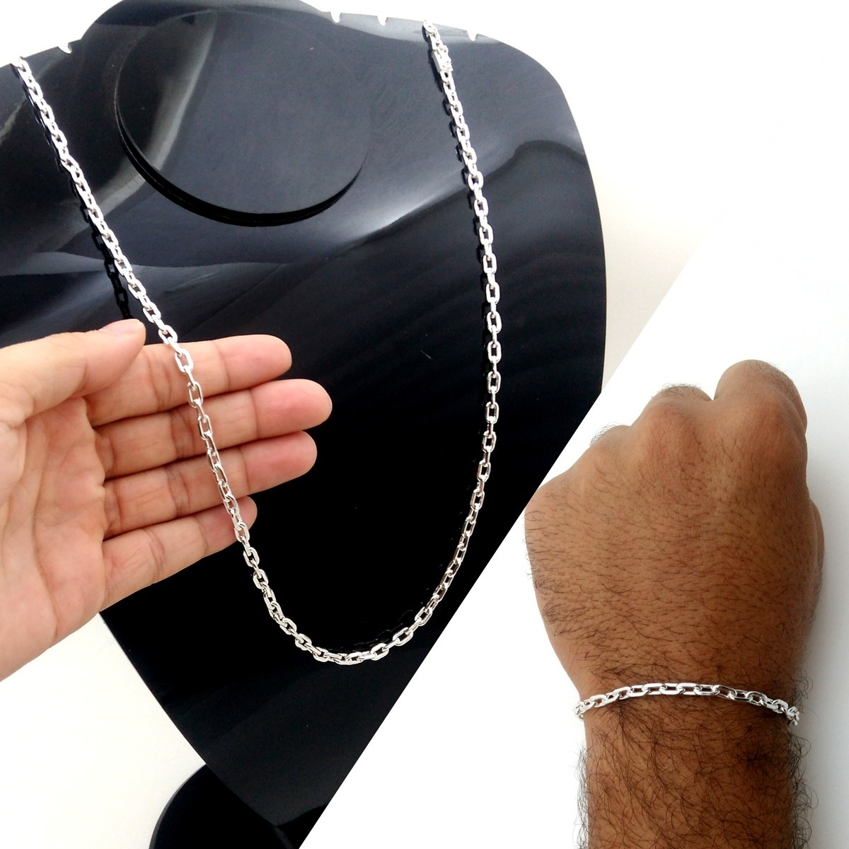7d430d52885 kit cordão cartier + pulseira prata maciça f gaveta 70cm 5mm. Carregando  zoom.