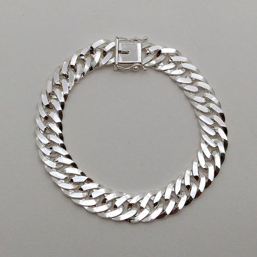 kit cordão grumet elo duplo + pulseira prata maciça 70c 10mm