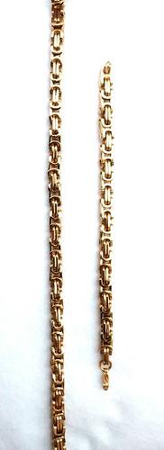 kit cordão+ pulseira aço inox dourado excelente durabilidade