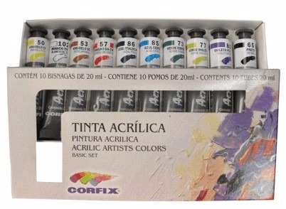 kit cores básicas tinta acrílica corfix 20ml pintura tela