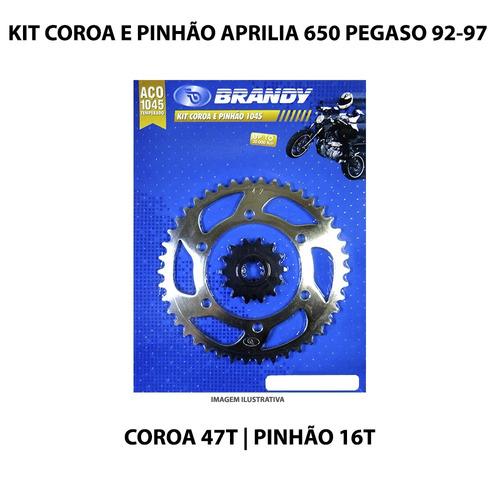 kit coroa e pinhão brandy aprilia 650 pegaso 92-97 aço 1045