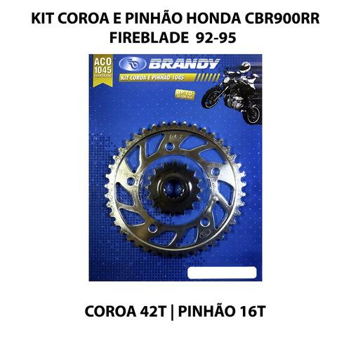 kit coroa e pinhão brandy cbr900 rr fireblade 92-95 aço 1045