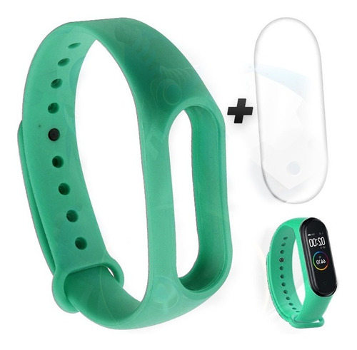 kit correa blanca sketch y buff protector xiaomi mi band 4