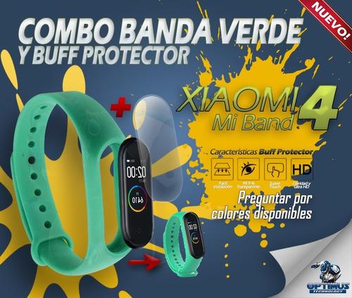 kit correa verde y buff protector xiaomi mi band 4
