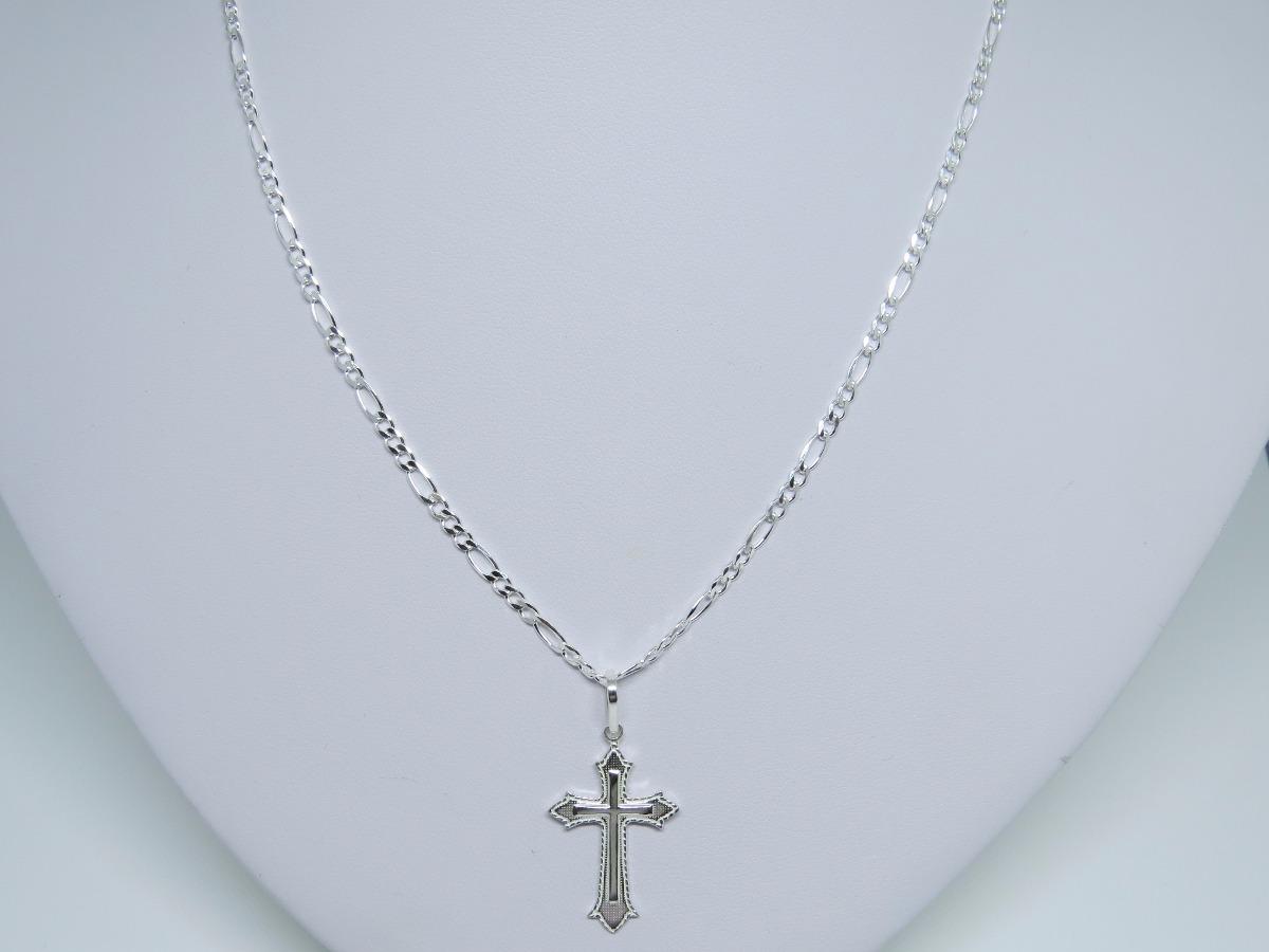 394610a4ab kit corrente cordão e pulseira prata 925+ pingente crucifixo. Carregando  zoom.