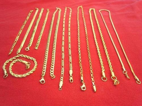 kit corrente e pulseiras banhado á ouro