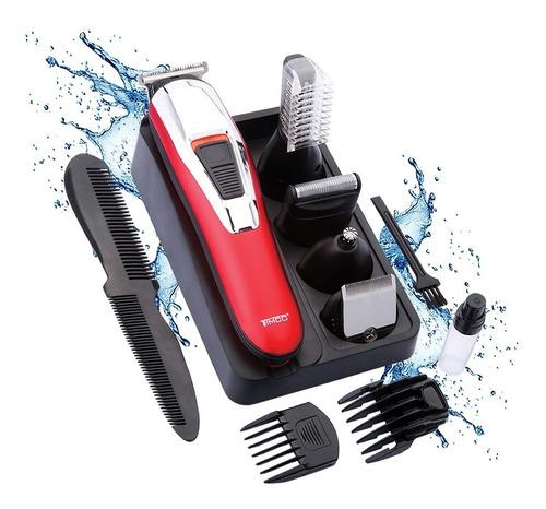 kit corte cabello y barba timco 7 en 1 resistente al agua