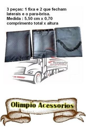 kit cortina cetim universal preta +kit instalação caminhão