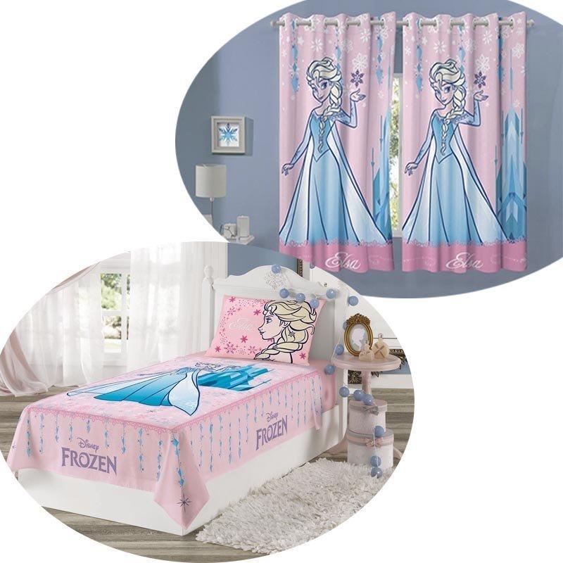 f3bffbca0d kit cortina infantil frozen + jogo de cama 2 peças lepper. Carregando zoom.