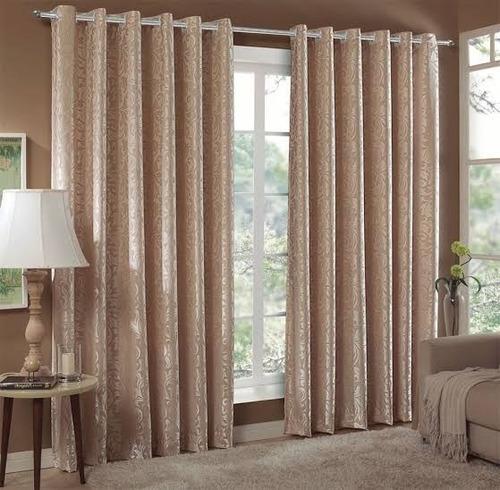 kit cortina jacquard 4,00x2,70 com 4 capas p/almofada 45x45