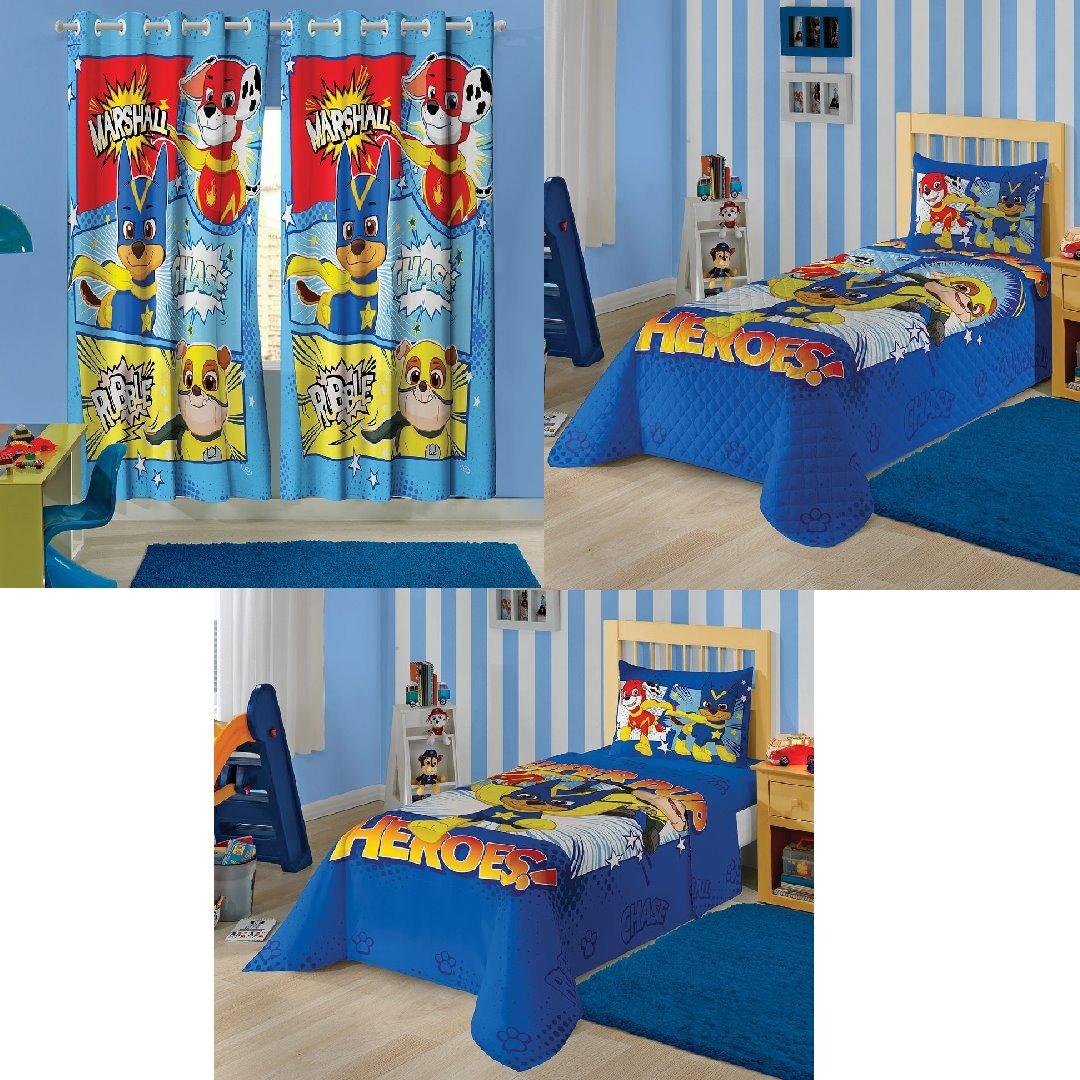 34da41b8f7 kit cortina patrulha canina + colcha + jogo de cama c 3 pçs. Carregando  zoom.