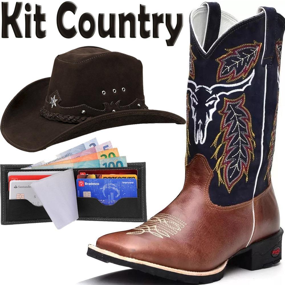 4f654f9e00953 kit country bota+chapéu+carteira boi. Carregando zoom.