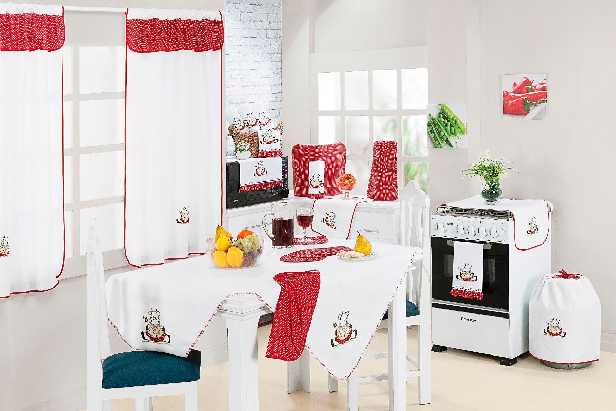 Kit Cozinha Com Cortina Para Var O Simples 11 Pe As Bordado R 125