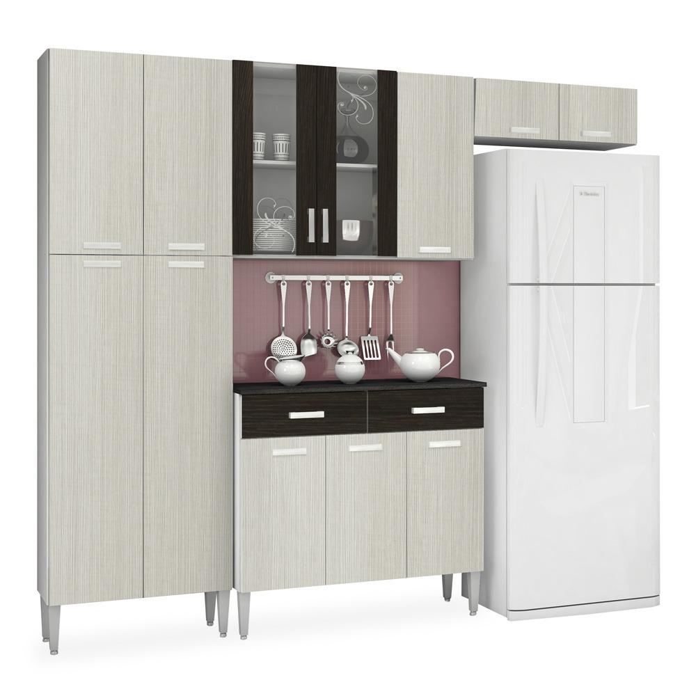 Kit Cozinha Compacta Com Paneleiro E Portas De Vidro Arena R 830