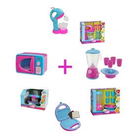 Kit Cozinha Infantil 4 Itens C/ Acessórios Menina Brincar