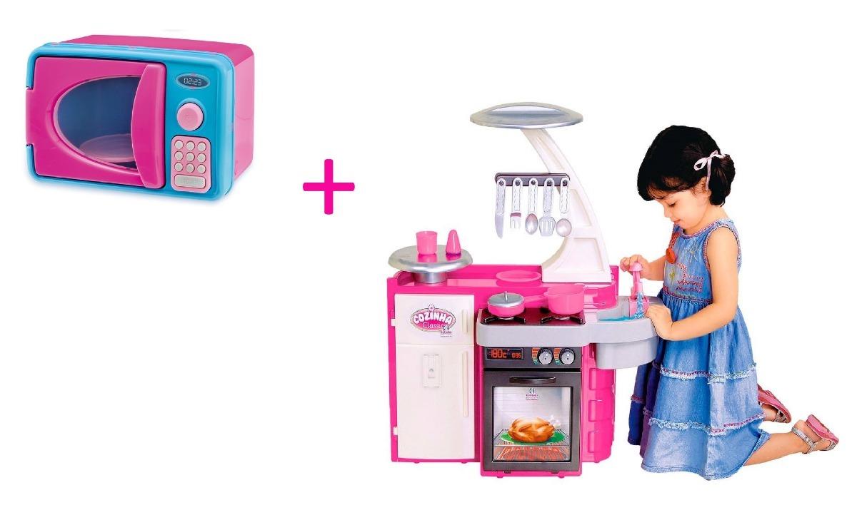Kit Cozinha Infantil Completa Microondas Som E Luz Frete R
