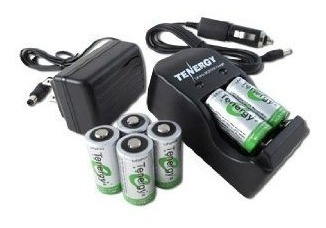 kit cr123a cargador 6 pilas adaptador carro portatil bateria