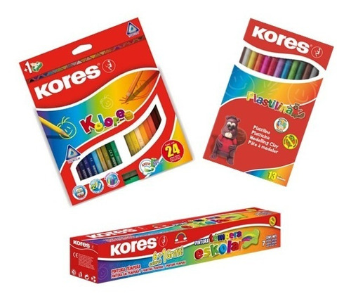 kit creativo colores kores x24, temperas x7 y plastilina x13