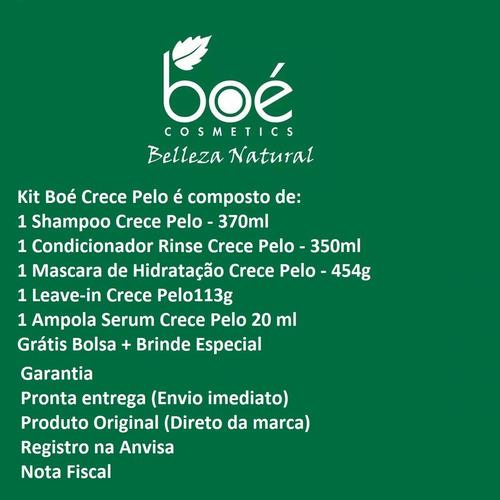kit crecepelo completo 5 itens + bolsa boé cosmétics crece pelo original