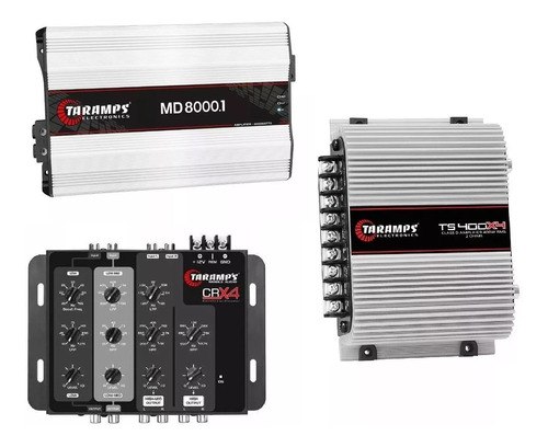 kit crossover crx4 + md8000 2ohm + modulo ts400 x4 taramps