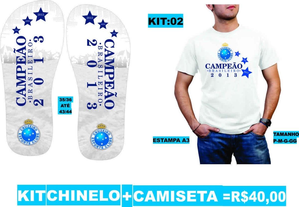 bce579c991 kit cruzeiro esporte clube campeão 2013 camiseta + chinelo. Carregando zoom.
