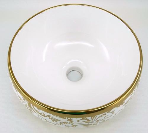 kit cuba cerâmica dourada + torneira monocomando + ralo clic
