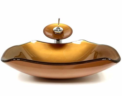 kit cuba vidro abaulada dourada + misturador + válvula