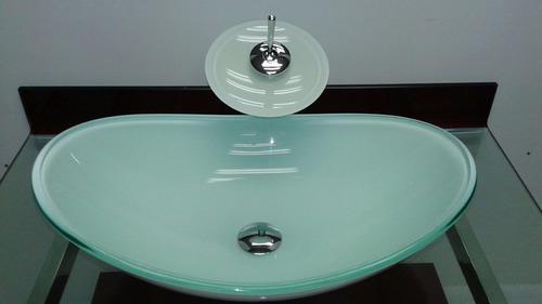 kit cuba vidro oval branco + misturador + válvula click