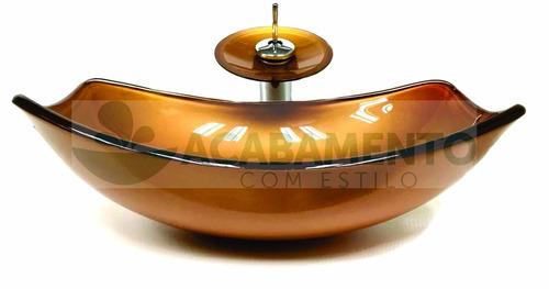 kit cuba vidro oval chanfrada dourada + misturador + válvula