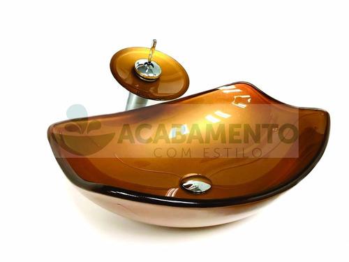 kit cuba vidro oval chanfrada + misturador + válvula - cores