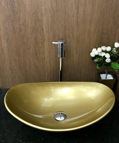 kit cuba vidro oval dourada,válvula,torneira cromada,sifão