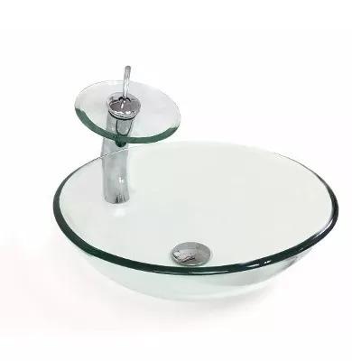 kit cuba vidro redonda 35 cm + misturador + válcula click