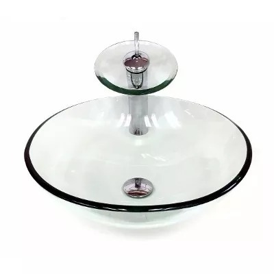kit cuba vidro redonda 42cm + misturador + válcula click