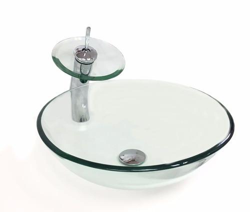kit cuba vidro redonda incolor 35cm + misturador + válvula