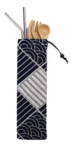 kit cubiertos sustensables de bambú y popotes de acero inoxi