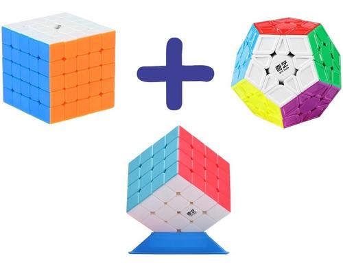 kit cubo mágico qiyi mo fang ge: 4x4x4 + 5x5x5 + megaminx