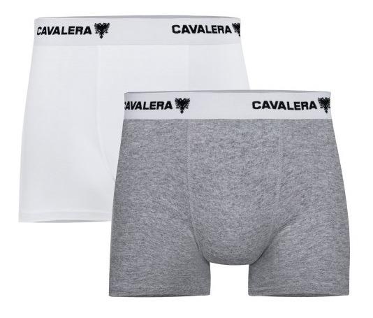 4a22679946785f Kit Cueca Boxer Cavalera Algodão 2 Peças Branca E Cinza