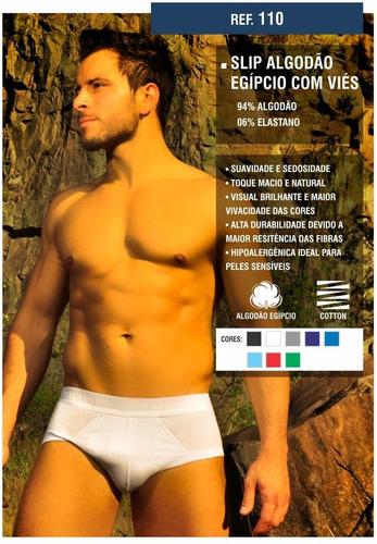 kit cuecas slip cotton egípcio com viés 06 peças ref 110