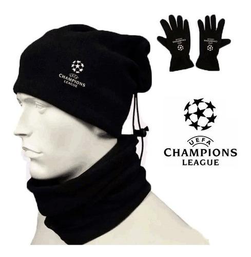 kit  ( cuellera - gorra - guantes )  de la champions league