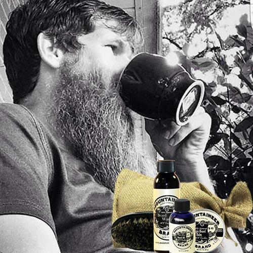 kit cuidado de la barba: aceite bálsamo lavado brocha