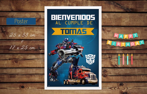 kit cumple imprimible transformers + candy bar