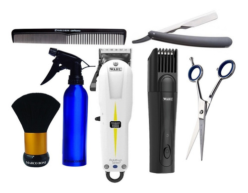 kit curso barbeiro sem fio bivolt maquina wahl + acessorios