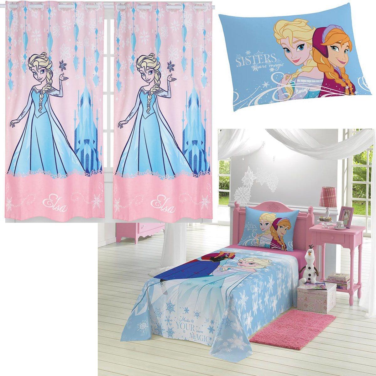 847c8db14 Kit Da Frozen Jogo De Lençol + Cortina Infantil Disney - R$ 184,95 ...