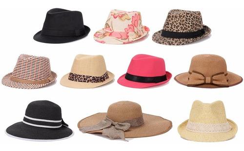 kit de 10 chapéus femininos diversos modelos cores e estampa