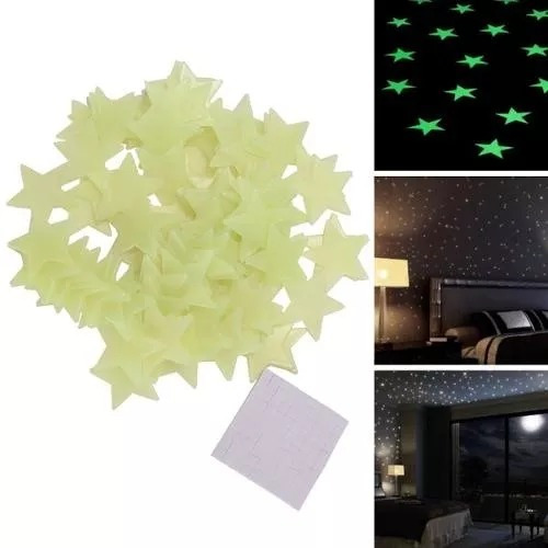 kit de 100 estrellas fosforescentes decorativas verdes h4003