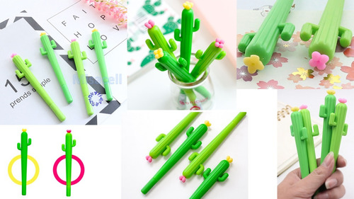 kit de  12  plumas kawaii  cactus  :)