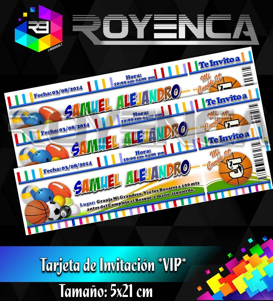 Kit De 12 Tarjetas De Invitacion Tipo Entrada Vip Cumpleaños