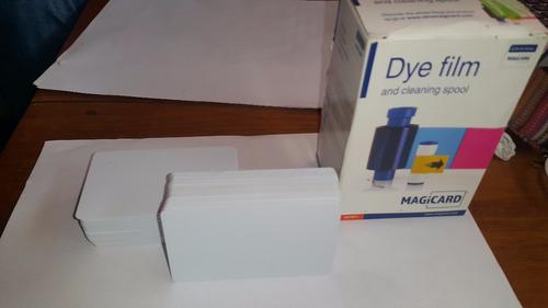 kit de 140 tarjetas de pvc-blanco y cinta de impresion
