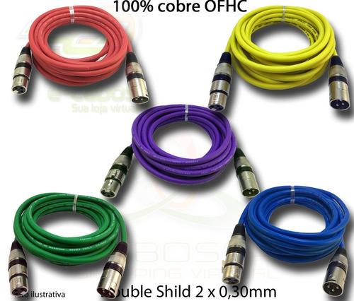 kit de 15 cabos colorido microfone/dmx  balanceado 5 metros